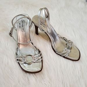 **Coach Lanie Sz 7 Silver Leather Heeled Sandals